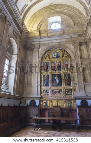 JAEN, SPAIN - may 2016, 2: Inside view of the Cathedral in Jaen, also called Chapel of San Pedro de Osma, The tondo Crown this altarpiece offers the image of the Veronica holding the Holy face, Spain