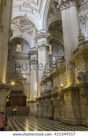 JAEN, SPAIN - may 2016, 2: The Cathedral in Jaen, also called Assumption of the Virgin Cathedral, Masterpiece of Andres de Vandelvira,considered the authentic face of Jesus Christ, take in Jaen, Spain