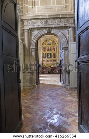Jaen, Spain - may 2016, 2: The sacristy is a rectangular space of 12 by 22 meters, a masterpiece of Andres de Vandelvira, Account with 16 arches supported on fragments of entablature, Jaen, Spain