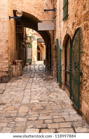 Jaffa is a southern, oldest part of Tel Aviv - Jaffa municipality (since 1950), an ancient port city (closed losed as a port in 1965) - stock photo