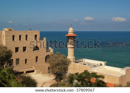 Jaffa's Sea Mosque Minaret in Israel. - stock photo