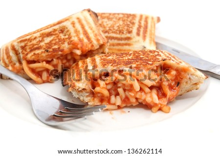 Jaffle or Grilled sandwich with Spaghetti filling - stock photo