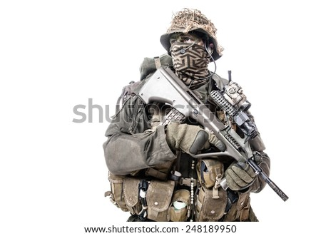 Jagdkommando soldier Austrian special forces equipped with Steyr assault rifle - stock photo
