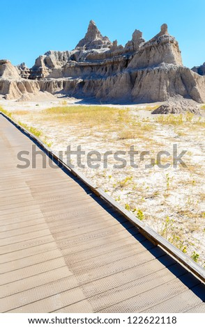 jagged and rounded buttes along the Door Trail at Badlands National Park - stock photo