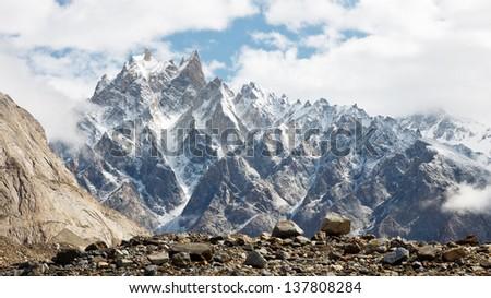 Jagged mountain scenery in the Karakorum Range, Pakistan - stock photo