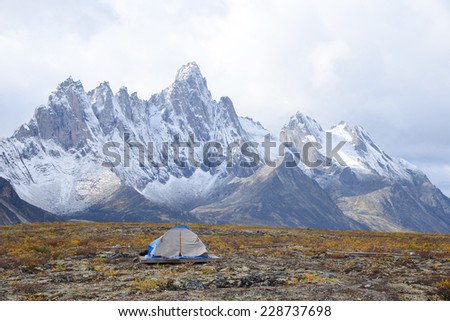 jagged mountains in tombstone territorial park in yukon, canada - stock photo