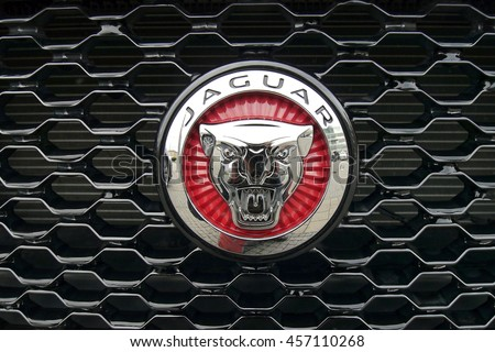 jaguar car emblem meeting of veterans vintage cars in prague czech republic june 20