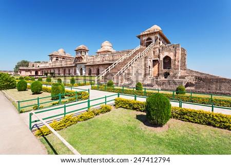 Jahaz Mahal (Ship Palace) in Mandu, Madhya Pradesh, India - stock photo