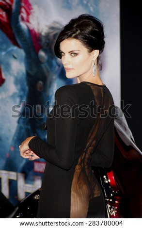 "Jaimie Alexander at the Los Angeles premiere of ""Thor: The Dark World"" held at the El Captian Theatre in Los Angeles on November 4, 2013 in Los Angeles, California.  - stock photo"