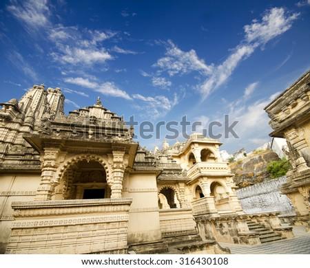 Jain temples, Mount Shatrunjaya, Palitana, Gujarat, - stock photo