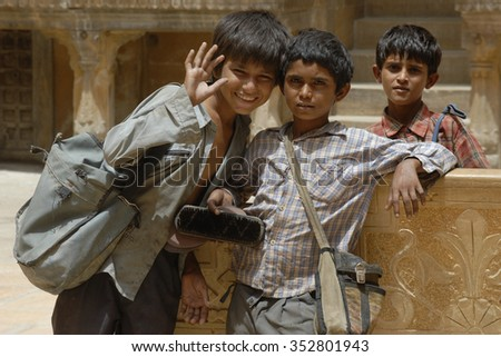 Jaipur,India - Aug.13,2007: Children playing in the street in India