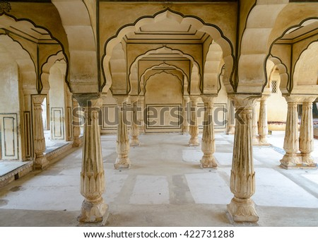 JAIPUR, INDIA - AUGUST 10, 2014: Columned hall of Amber fort
