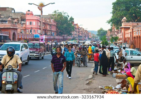 JAIPUR, INDIA - AUGUST 4: Road Traffic on August 4, 2011 in Jaipur, India. Jaipur, also popularly known as the Pink City, is the capital and largest city of the Indian state of Rajasthan.