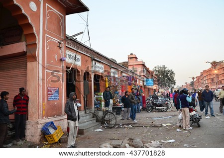 Jaipur, India - December 29, 2014: People visit Streets of Indra Bazaa, Jaipur, Rajasthan, in India, on December 29, 2014. Jaipur, known as the Pink City, is a major tourist destination in India.