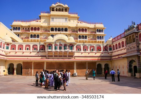 JAIPUR, INDIA - FEBRUARY 27: Unidentified people stand in Chandra Mahal on February 27, 2011 in Jaipur, India. Palace was the seat of the Maharaja of Jaipur, the head of the Kachwaha Rajput clan.