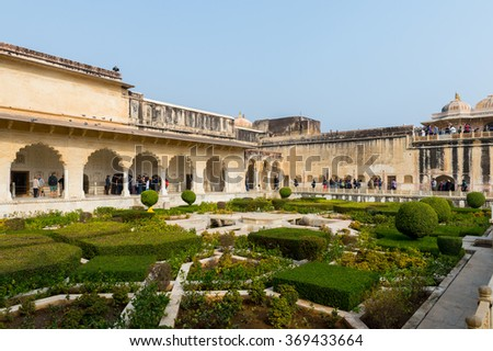 JAIPUR, INDIA - JAN 19, 2016: Amber Palace, a town near Jaipur, Rajasthan state, India. UNESCO World Heritage Site as part of the group Hill Forts of Rajasthan.