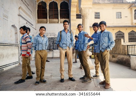 JAIPUR, INDIA - JANUARY 10, 2015: Group of Indian male students on January 10, 2015 in Jaipur, India - stock photo