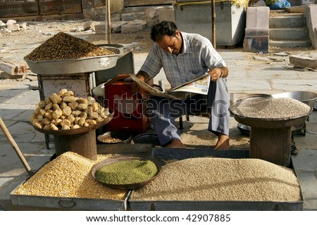 JAIPUR, INDIA - JUNE 20: Market. Biggest health risks in India are hep B and typhoid, the main source being contaminated unclean food, same as sold on this market on June 20, 2007 in Jaipur, India.