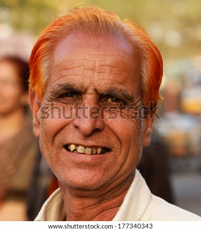 JAIPUR, INDIA � MARCH 4: An unidentified man outside the City Palace on March 4, 2012 ahead of the annual Holi Festival in Jaipur, Rajasthan, Northern India.