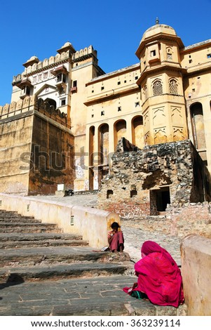 JAIPUR, INDIA - MARCH 08: Beggars in front of Amber Fort, March 08, 2015