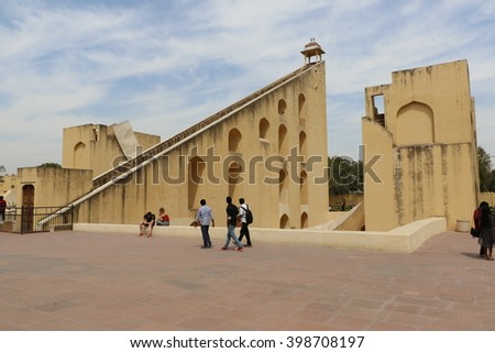 Jaipur, India - March 25, 2016: Jantar Mantar observatory complex and its Astronomical instruments in Jaipur, Rajasthan, India. Visitor visiting here regularly.