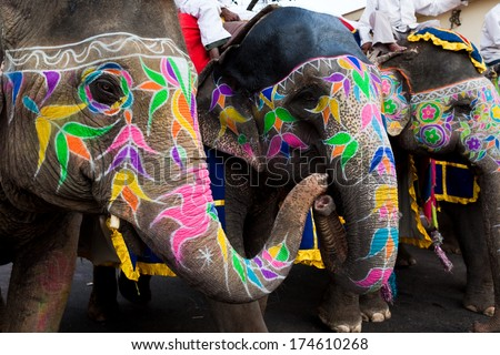 Jaipur, India - March 29: painted elephants in the celebration of the gangaur festival, one of the most important of the year march 29 2009 in Jaipur, Rajasthan, India