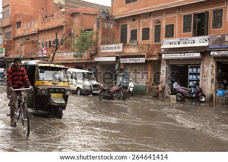 JAIPUR, INDIA, 13 MARCH 2015, SEVERE WEATHER CAUSES DISRUPTION IN NORTHERN INDIA. Global warming has resulted in a disturbance of the weather pattern in India
