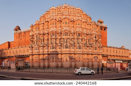 JAIPUR, INDIA - 18 NOV 2012: Facade of Hawa Mahal - Palace of Winds. Jaipur, India, Rajastan - stock photo