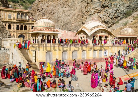 JAIPUR, INDIA - NOVEMBER 27, 2012: Galta Temple or Galtaji (also known as Monkeys temple) is an ancient Hindu pilgrimage site in the town of Khania-Balaji, in the Indian Rajasthan - stock photo
