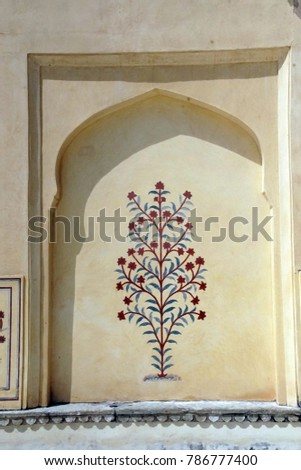 JAIPUR, INDIA - OCT 11, 2017 - Decorations of the Diwan I-Khas royal living quarters in  Amber Fort near  Jaipur, Rajasthan, India