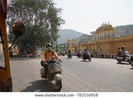 JAIPUR, INDIA - OCT 9, 2017 - Motorcycles on the street outside  Jaipur, Rajasthan, India