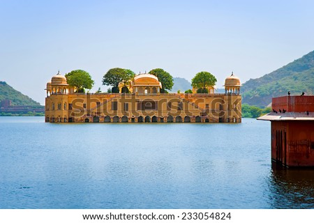 JAIPUR, RAJASTHAN/ INDIA - SEPTEMBER 27, 2013: Jal Mahal (Water Palace) was built during the 18th century in the middle of Man Sager Lake. September 27, 2013 in Jaipur, Rajasthan, India.  - stock photo