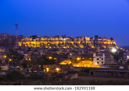 Jaisalmer Fort after sunset before night, Rajasthan, India  - stock photo