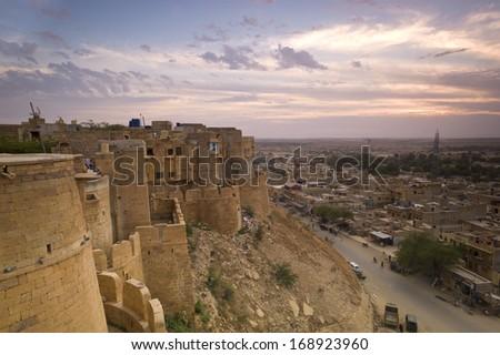 Jaisalmer Fort in sunset light, Rajasthan, India, Asia  - stock photo
