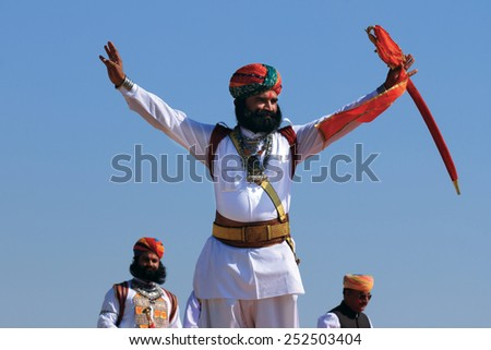 JAISALMER, INDIA - FEB 01: A traditional Rajasthani man participates in the Mr. Desert contest  conducted as part of Desert Festival held on February 01, 2015 in Jaisalmer, Rajasthan,India. - stock photo