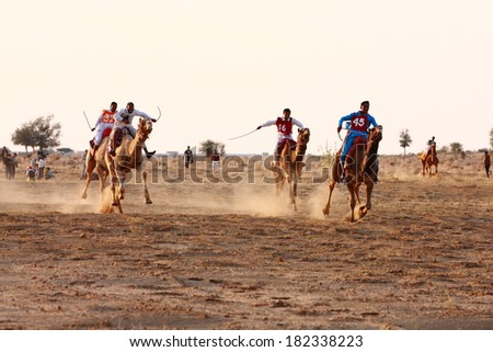 JAISALMER, INDIA - FEB 25: Camel racing on Feb 25, 2013 in Jaisalmer, India. The event is part of the Desert Festival held in winter to attract both domestic and international tourists.