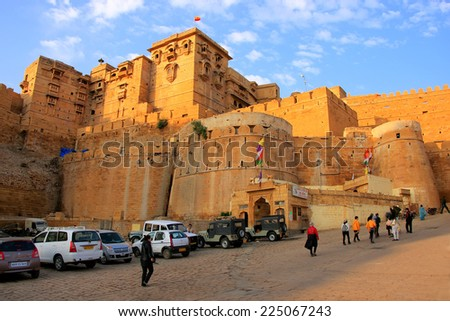 "JAISALMER, INDIA - FEBRUARY 15: Jaisalmer fort on February 15, 2011 in Jaisalmer, India. Jaisalmer is called the ""Golden City"" because of the yellow sandstone used in every architecture of the city."