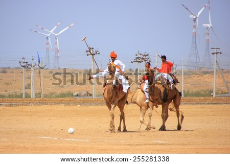JAISALMER, INDIA - FEBRUARY 16: Unidentified men play camel polo at Desert Festival on February 16, 2011 in Jaisalmer, India. Main purpose of Festival is to display colorful culture of Rajasthan - stock photo