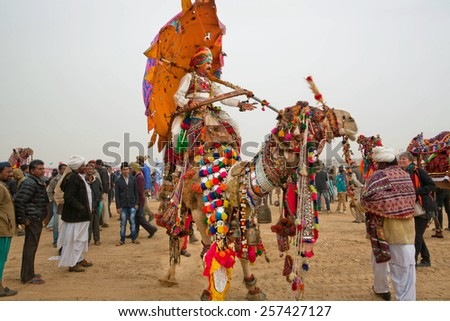 JAISALMER, INDIA - MAR 2: Colorful camel and rider with umbrella walking through the crowd of Desert Festival  on March 2, 2015. Every year in the february Jaisalmer takes the famous Desert Festival