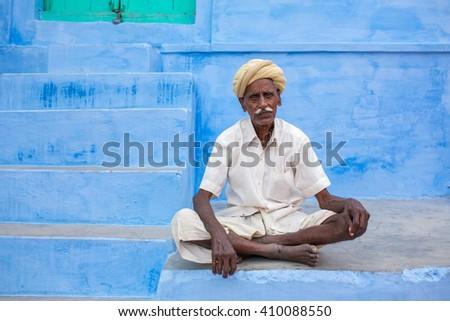 Jaisalmer, India - March 8, 2016: man posing in the street of Jaisalmer,India - stock photo