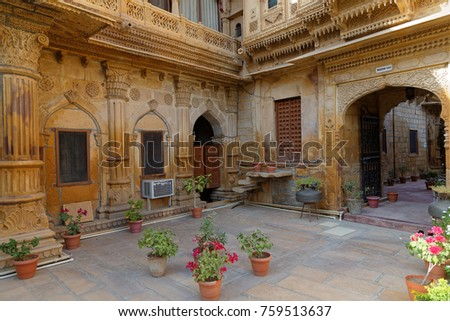 JAISALMER, INDIA, November 1, 2017 : Mandir Palace has been residence of the rulers of Jaisalmer for more than 2 centuries. Jaisalmer is called the Golden City because its yellow sandstone