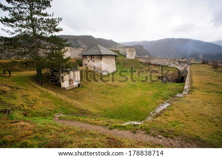 JAJCE, BOSNIA and HERZEGOVINA - DEC 26: Inside the old fortress of small Bosnian town on December 26, 2013. Jajce was built in14th century & served as the capital of the Kingdom of Bosnia. - stock photo