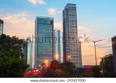 Jakarta downtown at beautiful sunset. Java, island, Indonesia - stock photo