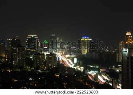 Jakarta elevated highway (Gatot Subroto) around Slipi area at night