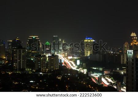 Jakarta elevated highway (Gatot Subroto) around Slipi area at night - stock photo