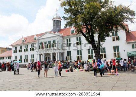 JAKARTA, INDONESIA: APR. 6:  The Jakarta Historical Museum, situated in Fatahilah Square, sports Dutch Colonial Architecture, and is a popular stop for tourists to the city on April 6, 2014. - stock photo