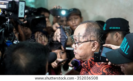 JAKARTA, INDONESIA. DECEMBER 14, 2015: Junimart Girsang, Members of the House of Representatives from PDIP Party. Interviewed by the media at the Parliament Building.