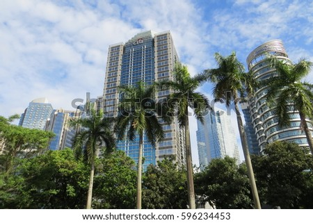 JAKARTA, INDONESIA - February 4, 2017: Tall buildings in Senayan district.