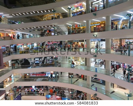 JAKARTA, INDONESIA - January 27, 2017: Crowd of people at Ciputra Mall.