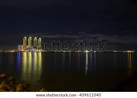 Jakarta, Indonesia - March 18, 2016: Night panorama of Skyscrapers Green Bay Pluit in North Jakarta. INDONESIA